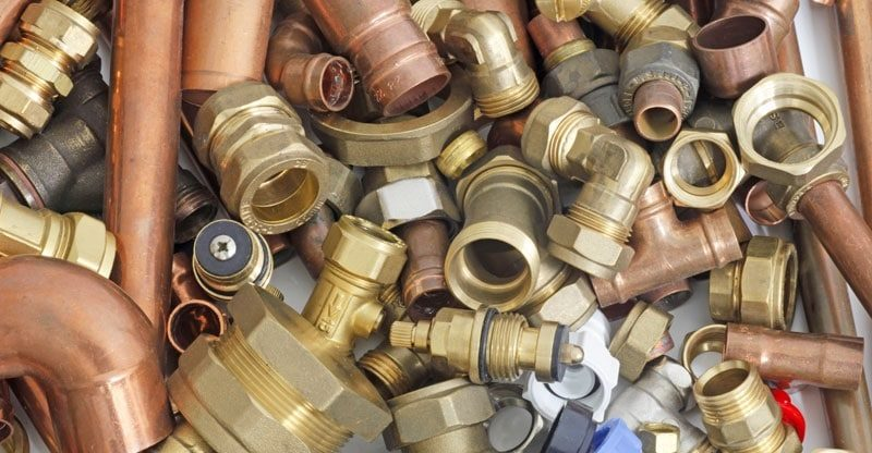 Different types of pipe fittings in the plumbing system